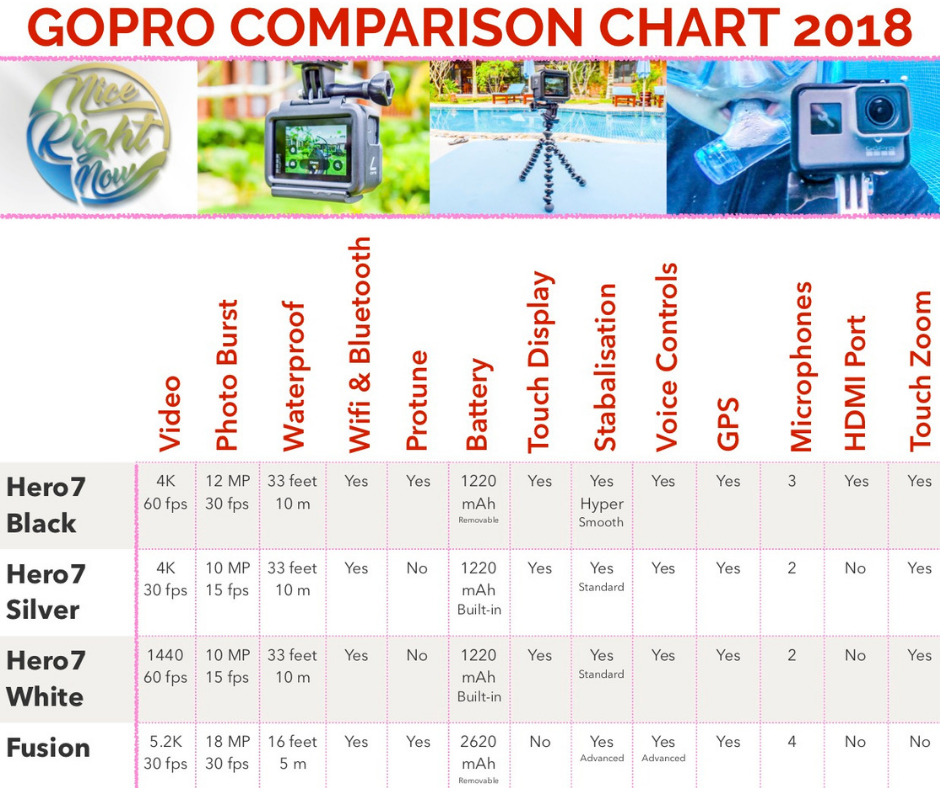 Difference Between GoPros and GoPro Comparison Chart - NiceRightNow